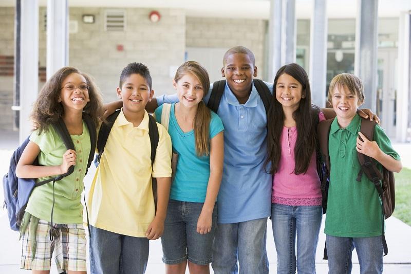 elementary school children - outside