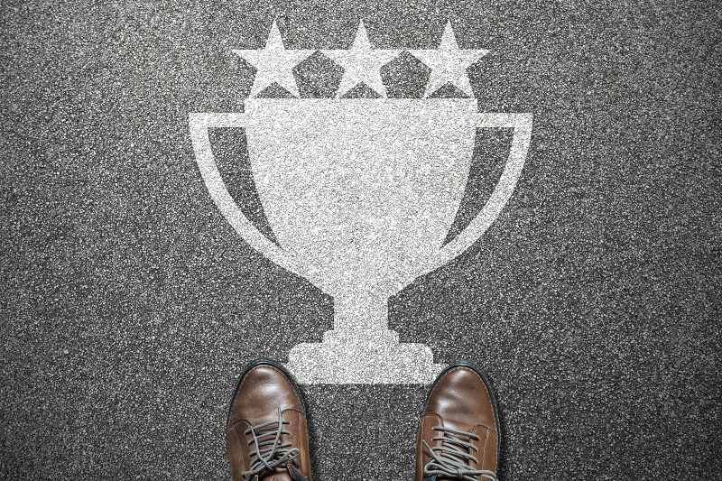 trophy with stars sidewalk
