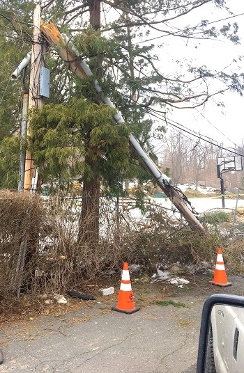 snapped hydro pole