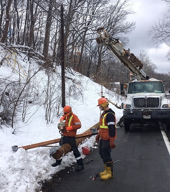 replacing downed hydro pole