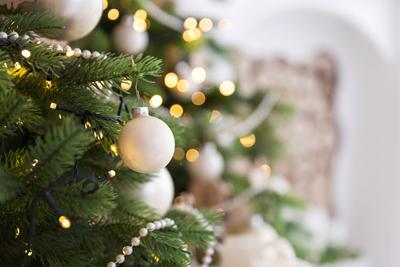 Christmas tree decorations and lights