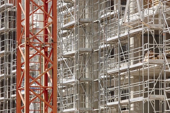 Construction scaffolding on building