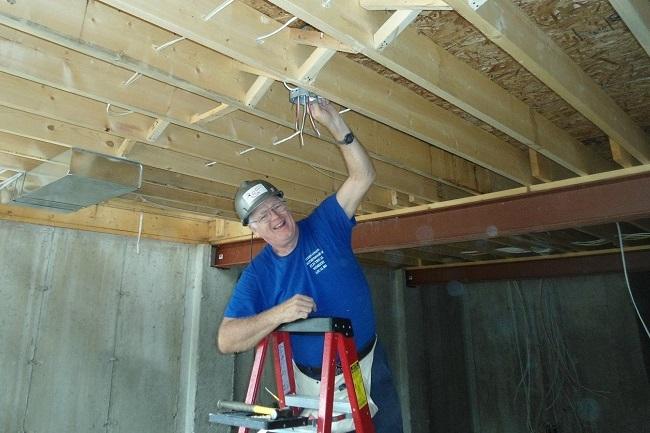 IBEW Local 804 electrician at Habitat WR build site