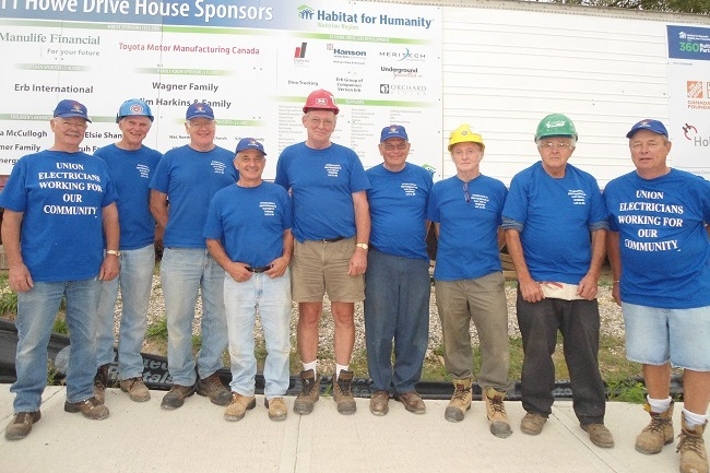 IBEW Local 804 electricians at Habitat WR build site